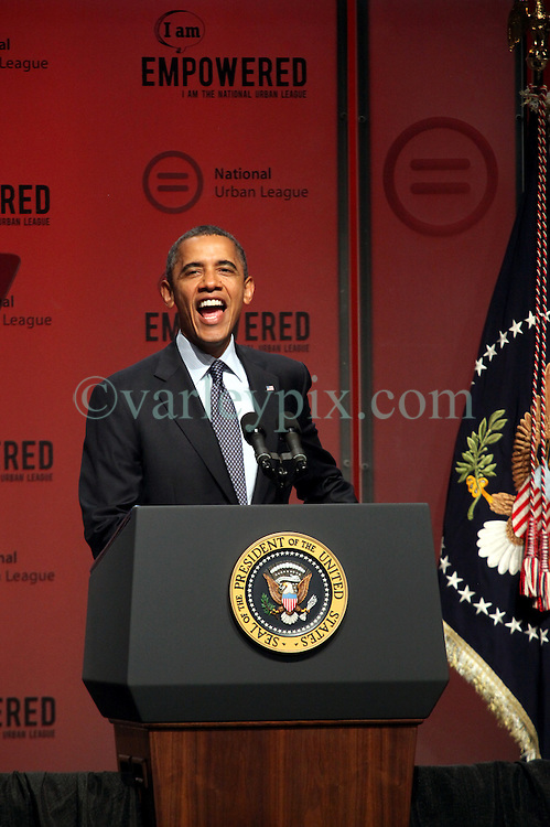 25 July 2012. New Orleans, Louisiana,  USA. .President Barack Obama delivers a rousing speech to the National Urban League at the Ernest N Morial Convention Center..Photo; Charlie Varley.