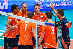 10-08-2019 NED: FIVB Tokyo Volleyball Qualification 2019 / Belgium - Netherlands, Rotterdam<br /> Third match pool B in hall Ahoy between Belgium vs. Netherlands (0-3) for one Olympic ticket / Fabian Plak #8 of Netherlands, Wouter Ter Maat #16 of Netherlands, Wessel Keemink #2 of Netherlands