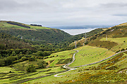 The path leading down the Anafon valley in the Carneddau which rises immediately south of the village of Abergwyngregyn just inside the northern boundary of the Snowdonia National Park and 4 km west-south-west of Llanfairfechan, Gwynedd, North Wales.