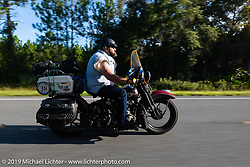 Jim Gilfoyle riding Midge, his Class III 1938 Harley-Davidson El Knucklehead in the Cross Country Chase motorcycle endurance run from Sault Sainte Marie, MI to Key West, FL. (for vintage bikes from 1930-1948). 287 mile ride of Stage-8 from Tallahassee to Lakeland, FL USA. Friday, September 13, 2019. Photography ©2019 Michael Lichter.