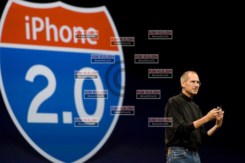 Scenes from the Apple WWDC in San Francisco, CA.. Photo by Kim KulishApple CEO Steve Jobs introduces a new iPhone at the Apple WWDC in San Francisco, CA.   Photo by Kim Kulish