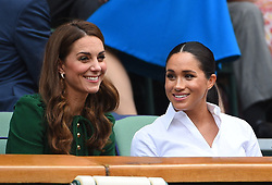 Duchess of Cambridge and Duchess of Sussex in the royal box, during the day twelve of the Wimbledon Championships at the All England Lawn Tennis and Croquet Club, Wimbledon, in London, UK, on Saturday July 13, 2019. Photo by Corinne Dubreuil/ABACAPRESS.COM