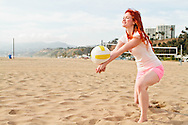 A beach volleyball player in action.