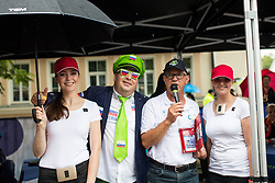 Aleksander Javornik and Janko Hrovat with TEM Catez hostesses during 5th Stage of 26th Tour of Slovenia 2019 cycling race between Trebnje and Novo mesto (167,5 km), on June 23, 2019 in Slovenia. Photo by Matic Klansek Velej / Sportida