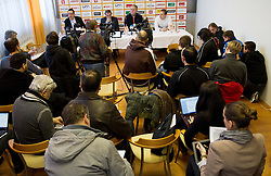 Grega Brezovec, Roman Volcic, Bozidar Maljkovic and Matej Avanzo during press conference of Basketball Federation of Slovenia on February 10, 2013 in Arena Golovec, Celje, Slovenia. (Photo By Vid Ponikvar / Sportida)