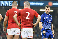 Rugby Union - 2019 / 2020 season - Wales vs. Barbarians<br /> <br /> referee Nigel Owens  & Dillon Lewis of Wales & Ken Owens of Wales at The Principality (Millennium) Stadium.<br /> <br /> COLORSPORT/WINSTON BYNORTH