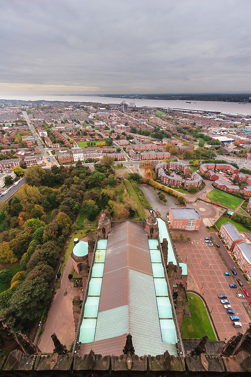 Liverpool and Mersey river as seen from Liverpool Cathedral, United Kingdom. The cathedral is the longest cathedral in the world, 189 m.