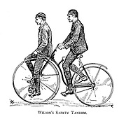 Two men ride Wilson's Safety Tandem From Wheels and Wheeling; An indispensable handbook for cyclists, with over two hundred illustrations by Porter, Luther Henry. Published in Boston in  1892
