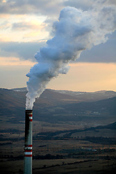 CZECH REPUBLIC PRUNEROV 22MAR10 - General view of the smokestack at the Prunerov brown coal-fired power station in north Bohemia. Prunerov is the largest source of carbon dioxide emissions pollution in the Czech Republic...jre/Photo by Jiri Rezac / GREENPEACE