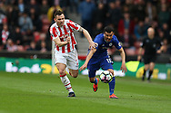 Pedro of Chelsea is fouled by Phil Bardsley of Stoke city. Premier league match, Stoke City v Chelsea at the Bet365 Stadium in Stoke on Trent, Staffs on Saturday 18th March 2017.<br /> pic by Andrew Orchard, Andrew Orchard sports photography.