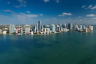 Brickell Avenue and Downtown Miami with Biscayne Bay from the air.