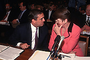 Attorney General  with CIA Director George Tenet before testifing in Congress in Washington, DC.