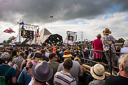 The crowd watch Royal Blood performing on the Pyramid Stage during the Glastonbury Festival at Worthy Farm in Pilton, Somerset. Picture date: Friday June 23rd, 2017. Photo credit should read: Matt Crossick/ EMPICS Entertainment.