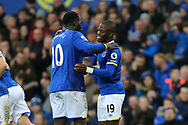 Enner Valencia of Everton (r) celebrates with his teammate Romelu Lukaku after scoring his teams 2nd goal. Premier league match, Everton v Hull city at Goodison Park in Liverpool, Merseyside on Saturday 18th March 2017.<br /> pic by Chris Stading, Andrew Orchard sports photography.