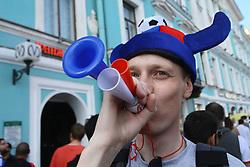 June 14, 2018 - Saint Petersburg, Russia - June 14, 2018. - Russia, Saint Petersburg. - Football fans from Russia visit 2018 FIFA World Cup Fan Fest. (Credit Image: © Russian Look via ZUMA Wire)