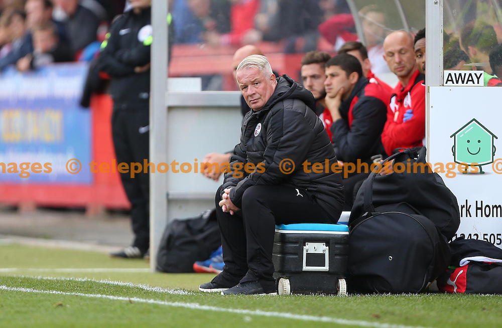 Crawley Town's Manager Dermot Drummy during the Sky Bet League 2 match between Cheltenham Town and Crawley Town at the Abbey Business Stadium in Cheltenham. October 15, 2016.<br /> James Boardman / Telephoto Images<br /> +44 7967 642437