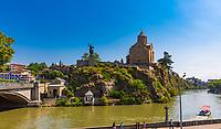 Tbilisi , Georgia - August 25, 2019 : Tbilisi and Kuri river cityscape capital city  of Georgia eastern Europe