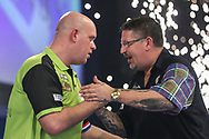 Michael van Gerwen wins his semi final match against Gary Anderson to reach the final and celebrates during the World Darts Championships 2018 at Alexandra Palace, London, United Kingdom on 30 December 2018.
