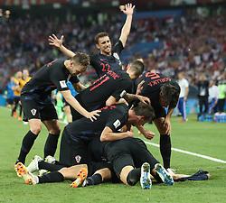 July 7, 2018 - Sochi, Russia - Players of Croatia celebrate Domagoj Vida's goal during the 2018 FIFA World Cup quarter-final match between Russia and Croatia in Sochi, Russia. (Credit Image: © Cao Can/Xinhua via ZUMA Wire)