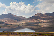Lake Success is a reservoir and dam along the Tule River and provides water to nearby Porterville and East Porterville, small towns at the eastern edge of the Central Valley, and is at extremely low levels as a result of three years of severe drought.  Tulare County, California, USA