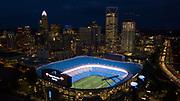 Charlotte sky line with Bank of America stadium