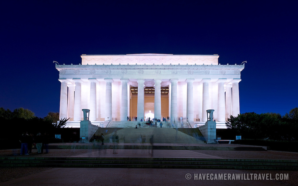 Lincoln Memorial, Washington DC, at night, with tourists. High resolution panorama.