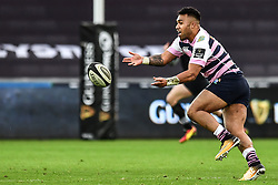 Cardiff Blues' Willis Halaholo in action during todays match<br /> <br /> Photographer Craig Thomas/Replay Images<br /> <br /> Guinness PRO14 Round 13 - Ospreys v Cardiff Blues - Saturday 6th January 2018 - Liberty Stadium - Swansea<br /> <br /> World Copyright © Replay Images . All rights reserved. info@replayimages.co.uk - http://replayimages.co.uk