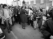 Charles Haughey campaigning in the Tullamore/Portlaoise constituency. <br /> On the left is another future Taoiseach, Brian Cowen.<br /> 14 February 1982