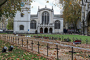 The 'Field of Remembrance' at Westminster Abbey during Armistice Day service in London, Wednesday, Nov. 11, 2020. Services held in many nations on Wednesday will commemorate the 102nd anniversary of the armistice ending World War I and honouring all those who died in the war. (VXP/ Vudi Xhymshiti)