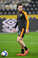 portrait of Hull City defender Lewie Coyle (2) warms up before the EFL Sky Bet League 1 match between Hull City and Rochdale at the KCOM Stadium, Kingston upon Hull, England on 2 March 2021.