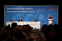 15 OCT 2003, BERLIN/GERMANY:<br /> Joerg Schoenbohm, CDU Landesvors. Brandenburg, Laurenz Meyer, CDU Generalsekretaer,Joachim Zeller, CDU Landesvors. Berlin,  Angela Merkel, CDU Bundesvorsitzende, (v.L.n.R.), waehrend Merkels Rede, CDU Regionalkonferenz zur Diskussion der  Ergebnisse der Herzog-Kommission, Hotel Estrell<br /> IMAGE: 20031015-04-013<br /> KEYWORDS: Jörg Schönbohm