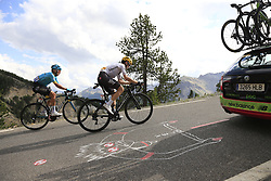 Mikel Nieve (ESP) Team Sky and Alexey Lutsenko (KAZ) Astana climb through the Caisse Deserte on Col d'Izoard during Stage 18 of the 104th edition of the Tour de France 2017, running 179.5km from Briancon to the summit of Col d'Izoard, France. 20th July 2017.<br /> Picture: Eoin Clarke | Cyclefile<br /> <br /> All photos usage must carry mandatory copyright credit (© Cyclefile | Eoin Clarke)