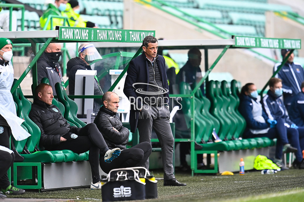 Hibernian FC manager, Jack Ross (right) and the Hibs coaching staff look dejected during the SPFL Premiership match between Hibernian and St Johnstone at Easter Road Stadium, Edinburgh, Scotland on 1 May 2021.