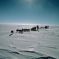 Dogsleds from the 1989-1990 Trans-Antarctica Expedition navigate across the vast polar plateau near the South Pole.  In the distant background is USA's Amundsen-Scott science base.