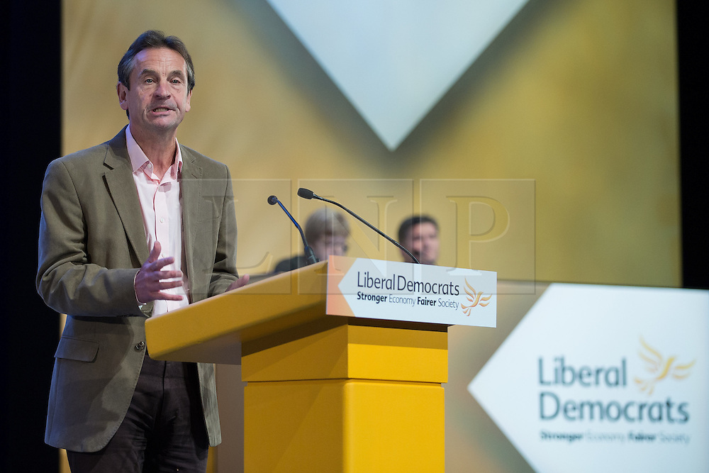 """© Licensed to London News Pictures . 04/10/2014 . Glasgow , UK . CHRIS DAVIES who , during a debate on sex workers , made reference to the fact that , as an MEP , he won the """" Golden Flying Penis """" award , for his work to give sex workers a voice . The Liberal Democrat Party Conference 2014 at the Scottish Exhibition and Conference Centre in Glasgow . Photo credit : Joel Goodman/LNP"""