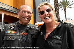 San Diego Harley-Davidson's New York Myke Shelby and Destination Daytona Harley-Davidson's Shelly Rossmeyer during Daytona Beach Bike Week, FL. USA. Wednesday, March 13, 2019. Photography ©2019 Michael Lichter.