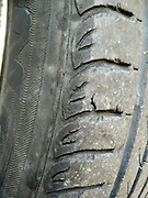 Used torn tire