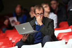 Burnley supporter Alastair Campbell in the stands before the Premier League match at Anfield, Liverpool.