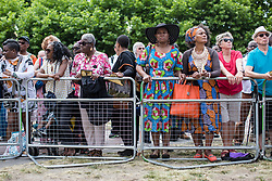 © Licensed to London News Pictures. 22/06/2017. London, UK. Members of the public attend the inauguration of the African Caribbean War Memorial in Windrush Square in Brixton, south London, on Windrush Day. The memorial remembers the many African and Caribbean servicemen that fought in the Second World War. Photo credit: Rob Pinney/LNP