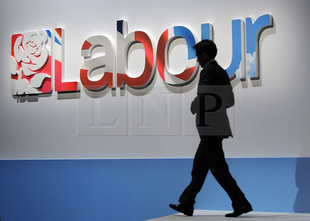 © Licensed to London News Pictures. 29/09/2011. LONDON, UK. Ed Miliband, Leader of the Labour Party leaves the stage. The Labour Party Conference in Liverpool today (2829/09/11). Photo credit:  Stephen Simpson/LNP