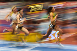 March 2, 2018 - Birmingham, England, United Kingdom - Aisha Praught of Jamaica at 1500 meter semi final at World indoor Athletics Championship 2018, Birmingham, England on March 2, 2018. (Credit Image: © Ulrik Pedersen/NurPhoto via ZUMA Press)