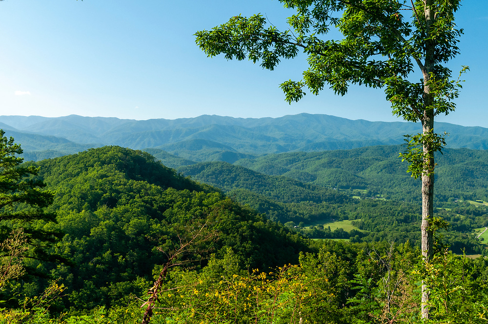 High Top (center) and Thunderhead Mountain (right) at the High Top Overlook on the Foothills Parkway in Great Smoky Mountains National Park in Wears Valley, Tennessee on Wednesday, August 12, 2020. Copyright 2020 Jason Barnette