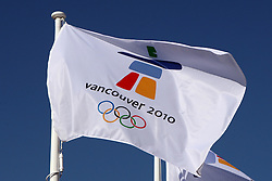 Olympic Winter Games Vancouver 2010 - Olympische Winter Spiele Vancouver 2010, German Olympic Team Welcome Ceremony, flag of olympic games, Fahne der Olympischen Spiele 2010, Logo, Flagge, Fahne, flag, Emblem,   Photo by Malte Christians / HOCH ZWEI / SPORTIDA.com.