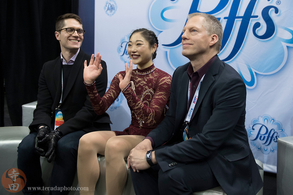January 3, 2018; San Jose, CA, USA; Mirai Nagasu smiles in the kiss and cry in the ladies short program during the 2018 U.S. Figure Skating Championships at SAP Center.
