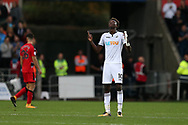 Tammy Abraham of Swansea city celebrates at the final whistle, after he had scored 2 goals. Premier league match, Swansea city v Huddersfield Town at the Liberty Stadium in Swansea, South Wales on Saturday 14th October 2017.<br /> pic by  Andrew Orchard, Andrew Orchard sports photography.