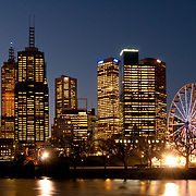 Melbourne skyline and Birramung Marr at night.