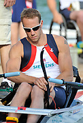 Bled, SLOVENIA,  Adaptive Rowing GBR AM1X, Men's single Andy HOUGHTON  1st FISA World Cup, on Lake Bled.  Thursday  27/05/2010  [Mandatory Credit Peter Spurrier/ Intersport Images]