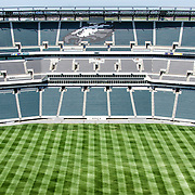 Wide-angle shot of an empty Lincoln Financial Field, home stadium of the Philadelphia Eagles, in Philadelphia, Pennsylvania. The stadium can seat 67,000 people.