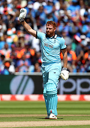 England's Jonny Bairstow celebrates reaching a century during the ICC Cricket World Cup group stage match at Edgbaston, Birmingham.