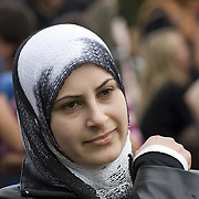 Muslim woman  wearing hijab,<br />